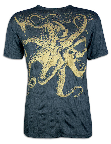 SURE Men´s T-Shirt - The Giant Kraken Special Edition Gold Size M L XL Octopus Goa Psy Trance Psychedelic Art