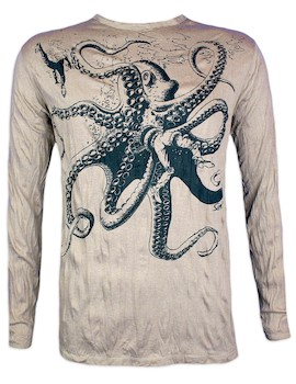 SURE Men´s Longssleeve  - The Giant Kraken Size M L XL Octopus Goa Psy Trance Psychedelic Art Techno