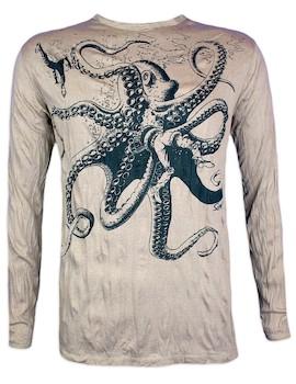 SURE Men´s Longssleeve  - The Giant Kraken Size M L XL Octopus Goa Psy Trance Psychedelic Art Techno