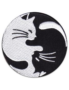 Yin Yang Cats Patch Iron Sew On Yoga Pets Tao Zen
