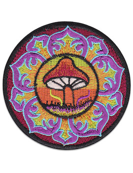 Mushroom Mandala Patch Iron Sew On Psychedelic Magic India