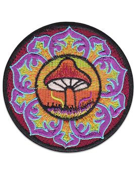 Mushroom Mandala Patch Iron Sew On Psychedelic Magic India