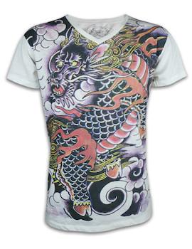 Ako Roshi Herren T-Shirt - Sekishoku Tatsu Roter Drache