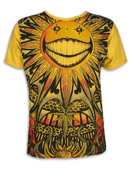 Mirror Men´s T-Shirt - The Psychedelic Sun Art Hemp Leaf